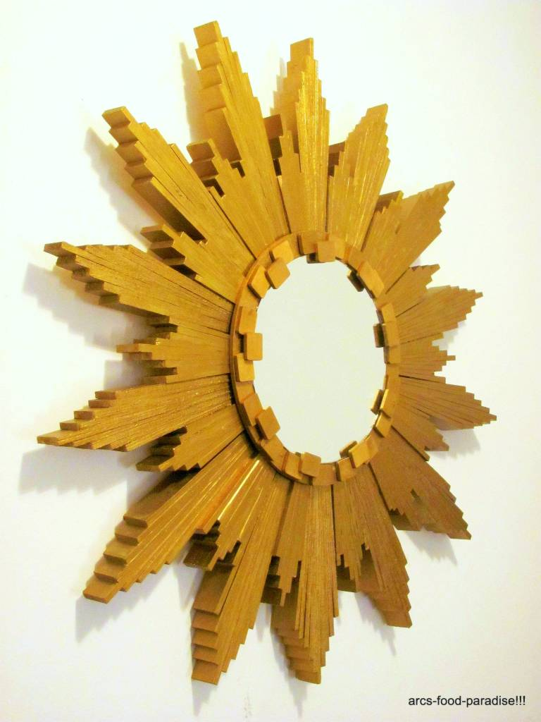 Sunburst mirror with wood shims diy the flavor nook for Ideas to make out of wood