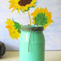 Turquoise Painted Glass Vase with a touch of yarn!
