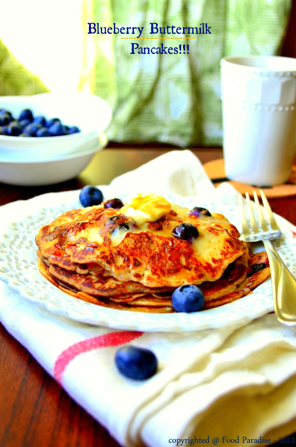 Blueberry Buttermilk Pancakes with butter & maple-syrup
