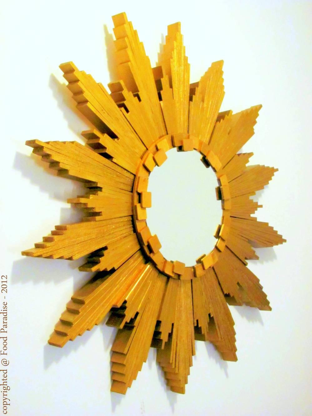 Sunburst Mirror with wood shims