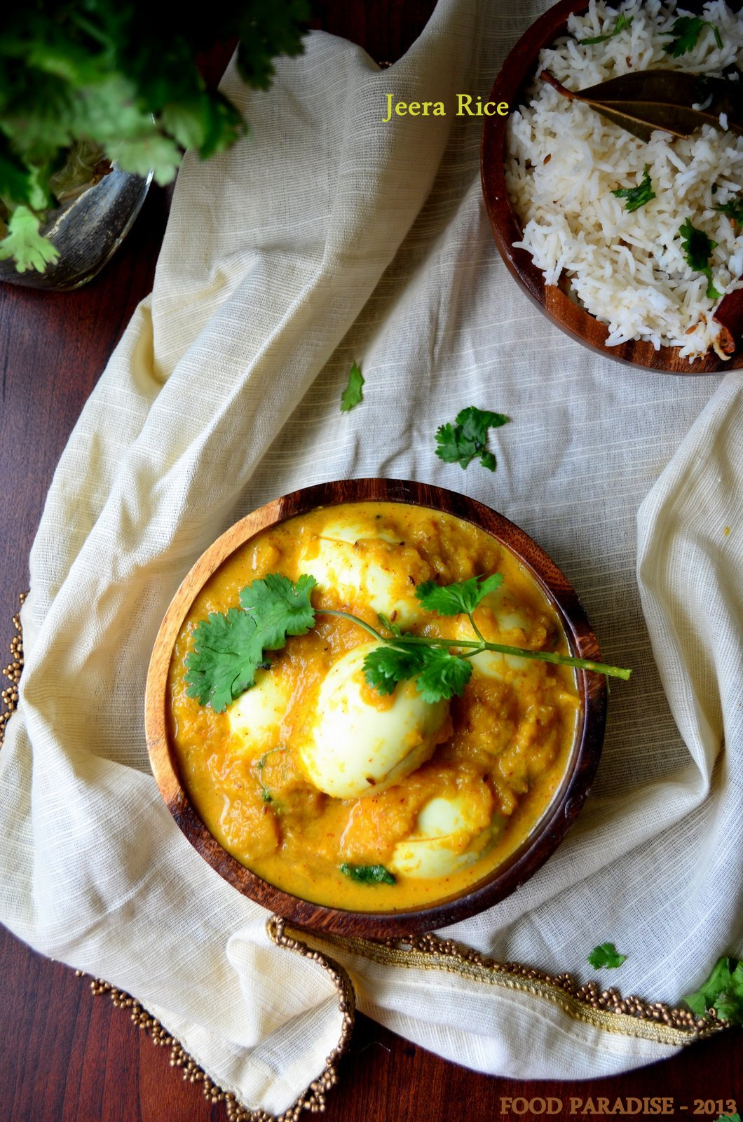 Egg Masala served with Jeera Rice
