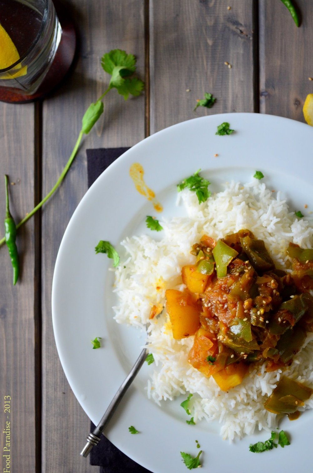 Rice with Capsicum and Potato Curry