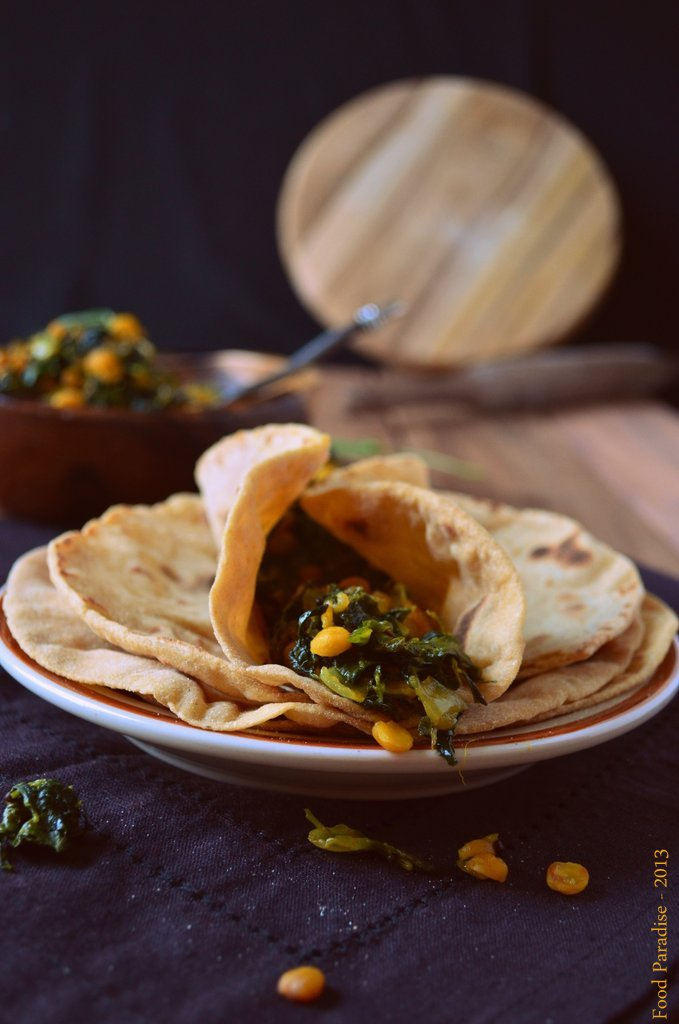 Methi Chana Sabji with Roti