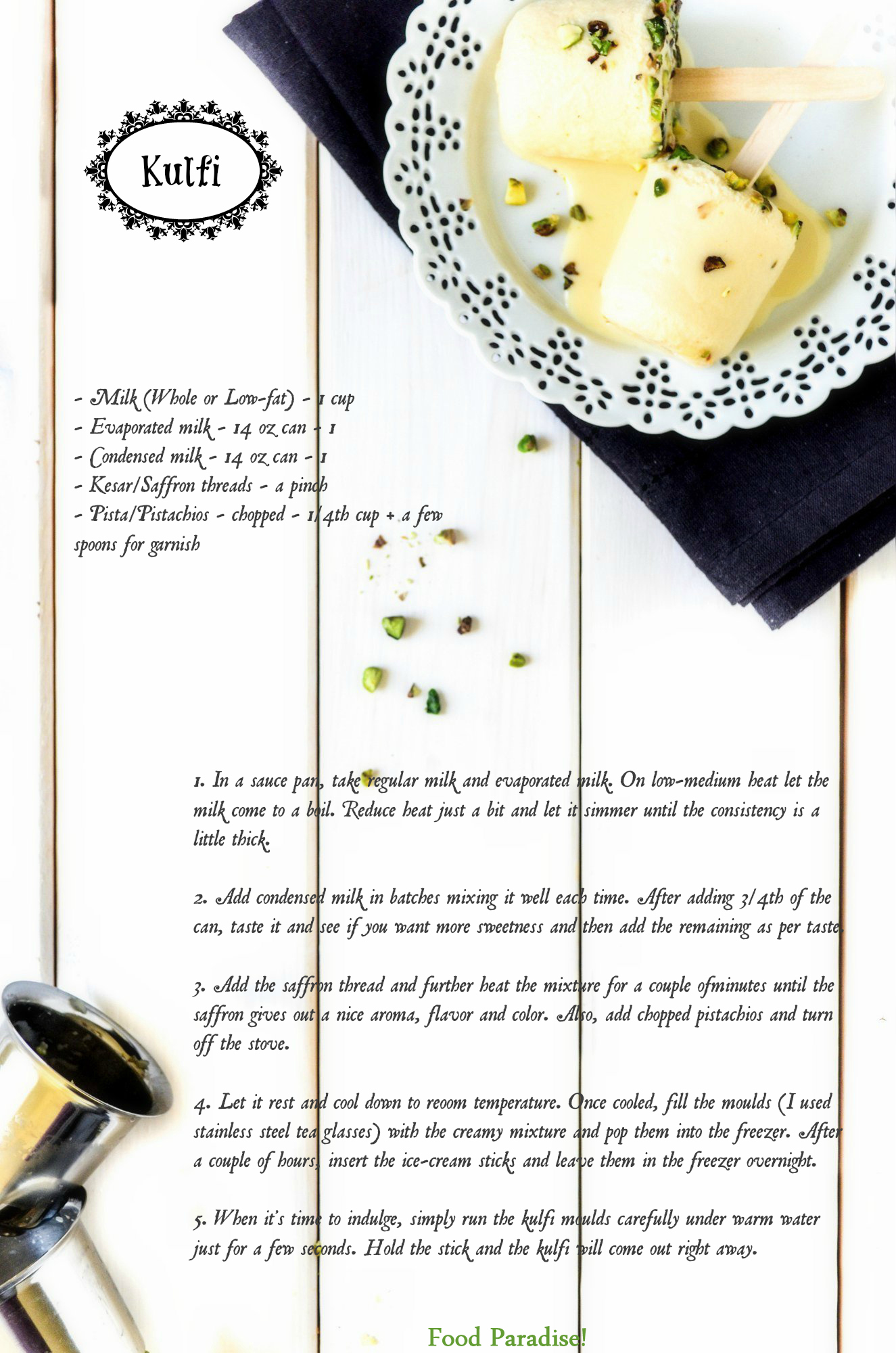 Kesar Pista Kulfi Recipe Card