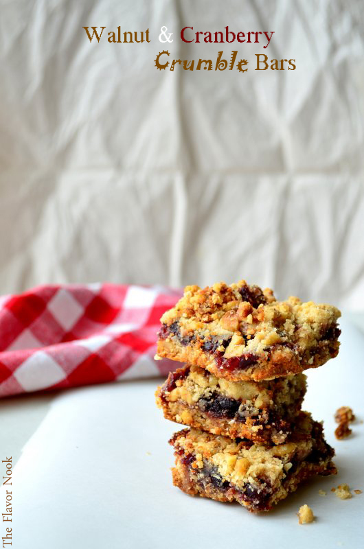 Walnut and Cranberry Crumble Bars