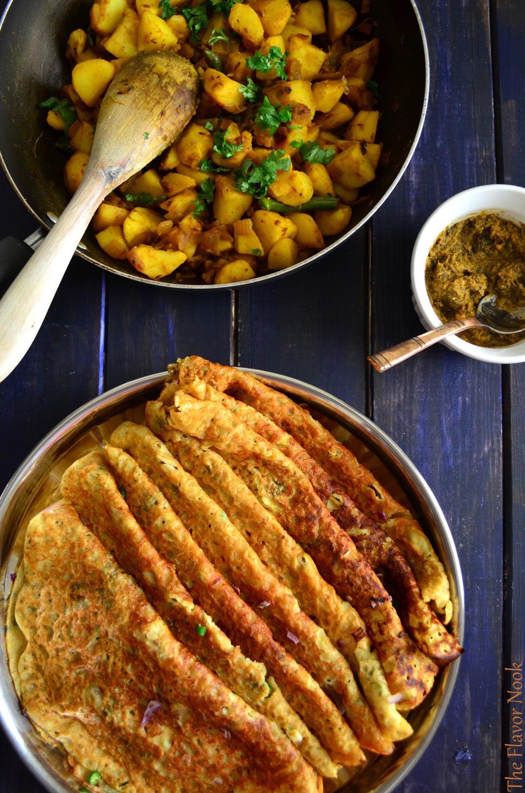 Wheat Rava Dosa - Potato Curry - Pudina Chutney.JPG
